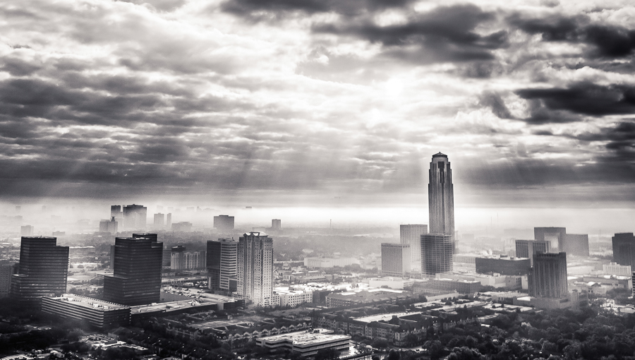 Morning rays over Houston